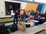 Unloading baggage from the Polar Bear Express at Moosonee 2012 June 24th