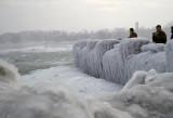 Ice at the brink of the Horseshoe Falls (c 1960), Niagara Falls, Ontario, Canada