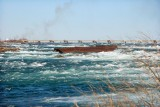 The Sand Barge near the brink of the Horseshoe Falls