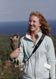 Tessa holding the Peregrine Falcon
