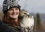 Lizzie posing with the posing Red-tailed Hawk