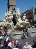 The celebrated Fountain of the Four Rivers by Bernini, the most celebrated of the Florentine sculptors, save Michaelangelo.