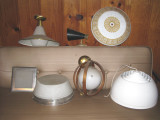 group 1 - i have 5 of the greek key shades and 2 of the white lightolier on right.  nos.