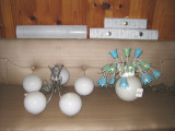 bath lights, great frosted globe chand., painted metal flower light