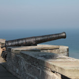 Bamburgh Castle cannon on the ramparts