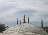 View from the Hagia Sofia looking towards the six minarets of the Blue Mosque, Istanbul