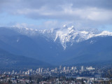 The majestic Lions towering above North Vancouver, Canada