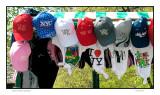 Central Park vendor's hat selection