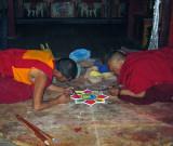 Making sand mandala, Litang