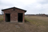 entrance to latrine and common sinks for prisoners in the concentration camp