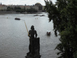 Statue Bruncvik and river Vltava ..