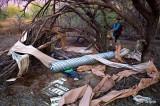 Dr. Eisenberg clearing trash left in the desert. L1053516.jpg