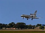 A Mystere Dassault Falcon 50 Lands at Austin Int. Airport.