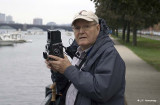 Mike Levy trying out a Rollei (photo Jim Hemenway)