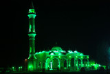 GREEN LIGHTS AT GHANTOOT MOSQUE IN ABUDHABI