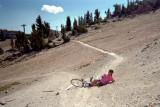 Gail falls at Mammoth Mountain