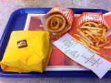 Whataburger Patty Melt with Onion Rings and Fries