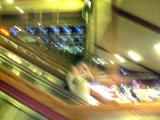Riding the escalator in the Cal Neva casino