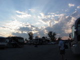 Beautiful evening skies as we head down to the track.