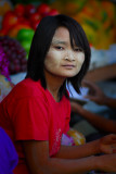Young girl with thanaka face.Yangon
