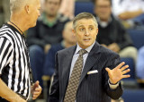 Georgia Tech Yellow Jackets Head Coach Brian Gregory discusses a play with a referee