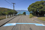 Tsunami Safe Zone - lines painted on Island Bay Streets indicating the safe zone