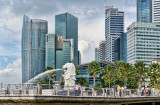 The merlion and high rise buildings, Singapore