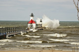 Spring storm at a light house on Lake Michigan