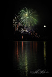 Fireworks with Full Moon