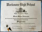 Workmore High 1935 Diploma of Mattie Melva Anderson