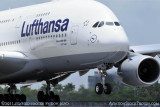 2011 - Lufthansa A380-841 D-AIMD Tokio on the inaugural flight to Miami International Airport aviation airline stock photo