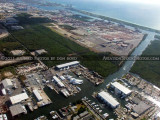 2011 - east of FLL with the Harbour Towne Marina, Dania Cut-Off Canal, and Port Everglades aerial landscape stock photo