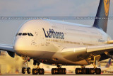2011 - Lufthansa A380-841 D-AIMC Peking on takeoff roll at Miami International Airport aviation airline stock photo
