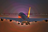 2011 - Lufthansa A380-841 D-AIMC Peking climbing out at Miami International Airport aviation airline stock photo