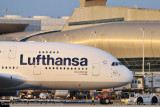 2012 - Lufthansa A380-841 D-AIMC Peking pushing back from the gate airline aviation stock photo