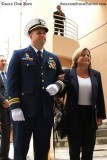 LCDR Herb Eggert, prospective CO of the WEBBER, escorting U. S. Representative Ileana Ros-Lehtinen at the commissioning ceremony
