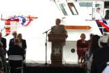 Mr. Donald T. Bollinger, Chairman, CEO and President of Bollinger Shipyards speaking at the commissioning ceremonies