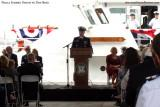 Master Chief Petty Officer of the USCG Michael P. Leavitt speaking at commissioning ceremonies for the USCGC BERNARD C. WEBBER