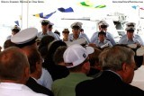Crew members (facing camera) from the USCGC BERNARD C. WEBBER (WPC 1101) during commissioning ceremonies