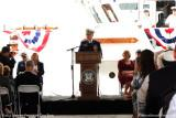 Admiral Robert J. Papp Jr., Commandant of the USCG, speaking at commissioning ceremonies for USCGC BERNARD C. WEBBER (WPC 1101)