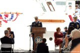 LCDR Herb Eggert, prospective CO of the USCGC BERNARD C. WEBBER, speaking at the commissioning ceremony
