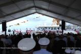 The entire crew lining the rails of the newly commissioned USCGC BERNARD C. WEBBER (WPC 1101)