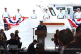 LCDR Herb Eggert, Commanding Officer, making concluding comments after the commissioning of the USCGC BERNARD C. WEBBER