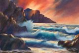 Waves in soft pastels