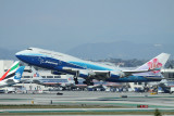 China Airline B-747-400 in Boeing house colour taking off from LAX bound for TPE