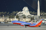 Southwest 737-700 taking off in front of Luxor Casino in Las Vegas