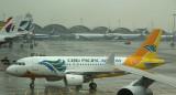 Cebu Pacific's A-320 at a damp HKG ramp