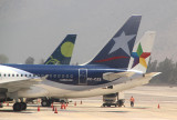Tails of all 3 major airlines in Chile.
