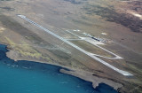 El Calafate International Airport (FTE) and Lago Argentina as seen from the air