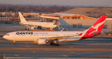 Qantas A-330 approaching its gate in JFK